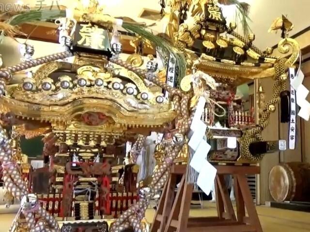 """千葉県匝瑳市 コロナ退散の願い込め""""神輿""""展示"""